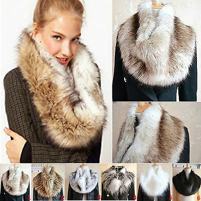 Ladies Women Faux Fur Neckchief Scarf Fluffy Winter Shawl Wrap Stole Scarfs Chic