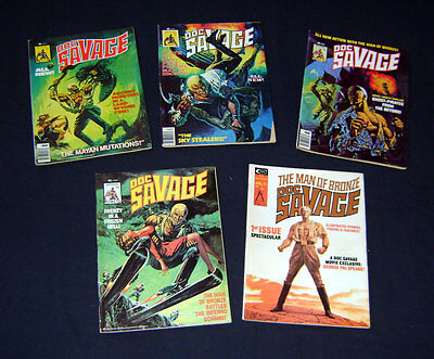 Doc Savage Magazine Issues #1,3,4,6,7 Low Grade Reader Lot 1970s Marvel/Curtis