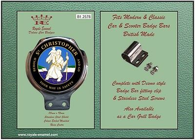 Royale Classic Car Scooter Badge & Desmo Bar Clip ST CHRISTOPHER BLACK B1.2578