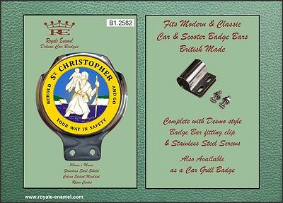 Royale Classic Car Scooter Badge & Desmo Bar Clip ST CHRISTOPHER YELLOW B1.2582