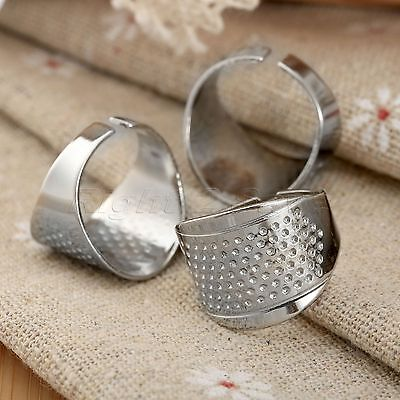 3x Sliver Tone Adjustable Size Ring Stitch Finger Thimble Sewing DIY Craft Tools