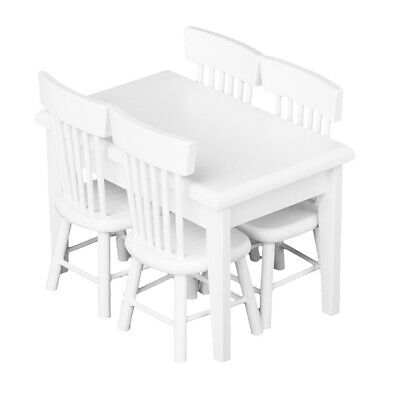 Set of 5pcs Miniature Dining Table Chairs for 1:12 Dollhouse Furniture White
