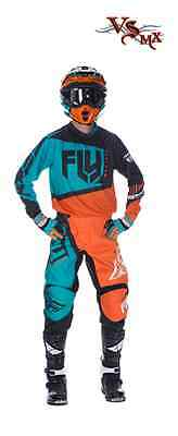 "FLY Racing Kit Pant & Jersey 2017 F16 Orange Teal ADULT 28-42"" Waist S-2XL"