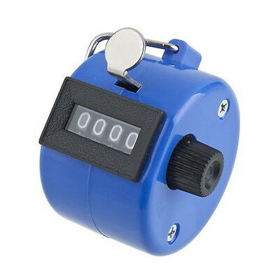 Hand held 4 Digit display Number Tally Counter Clicker Golf Blue E5#