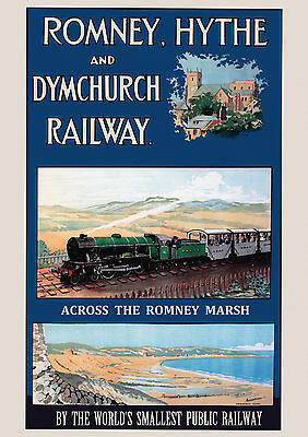 Romney, Hythe & Dymchurch  Railway Old, Vintage Travel Poster reproduction