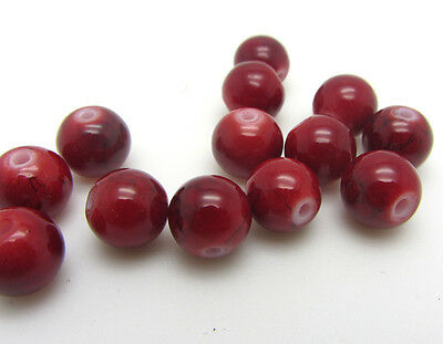 New Loose Charm 30pcs 8mm Round Glass Crystal Beads Jewelry Making Red