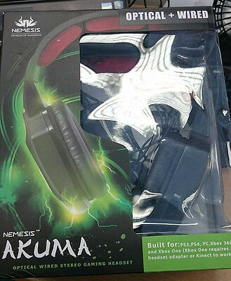 Nemesis Akuma Wired Digital Optical Stereo Headset Pc Xbox Ps4 Ps3 Clearance