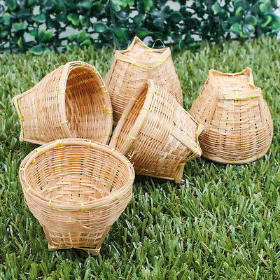 "Mini 2"" Vintage Handcraft Model Weaving Basket Bamboo Wood Craft Miniature A1023"
