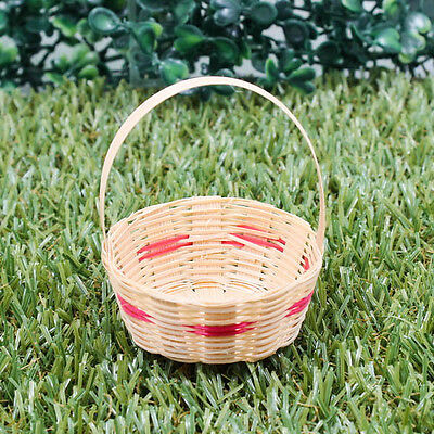 "2.5"" Vintage Handmade Miniature Woven Basket Bamboo Wood Red Model Gift A1026"