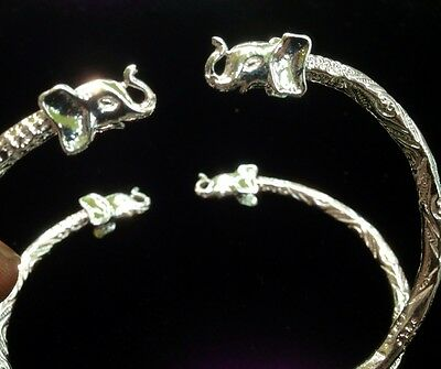Pair Of Elephant Head Handmade West Indian Sterling Silver Bangles