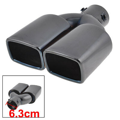 Car 63mm Inlet Dia Black Stainless Steel Two Outlet Tail Gas Exhaust Muffler Tip