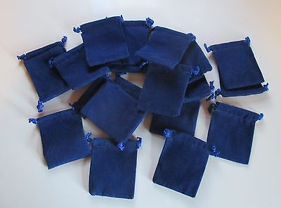 "Wholesale Lot of 25 Royal Blue Velveteen Drawstring Bags, Pouches 2"" x 2.5"""