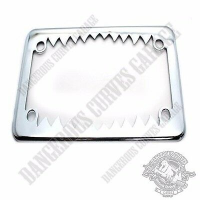 "Show Chrome Metal Shark Teeth 4"" x 7"" License Plate Frame for Touring Motorcycle"