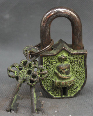 Old Tibet Buddhism Bronze Snake Naga Kanya Buddha Head Folk Home Lock Key Set
