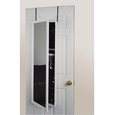 Jewelry Armoire Cabinet Over The Door Full Length Mirror White