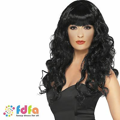 LONG BLACK CURLY WITCH DARK PRINCESS WIG HALLOWEEN - womens ladies fancy dress