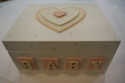 Ivory and Pink Baby Keepsake Memory Box #F0421A