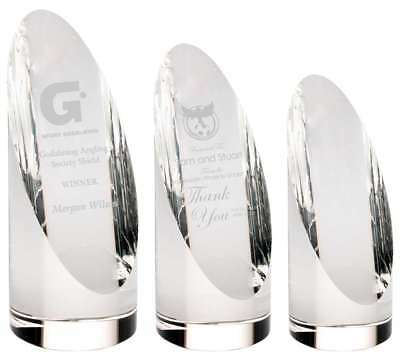 Glass Column Awards supplied in presentation boxes - engraved free of charge