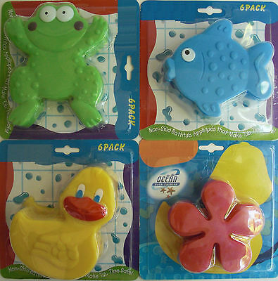 6 Non-Slip Suction Bathtub Appliques - Frog/Duck/Fish Antibacterial Safe Treads