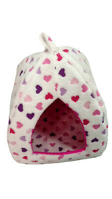 Pink Hearts Warm Fleece Folding Pet Bed Igloo Small Pet Dog Cat Rabbit Puppy