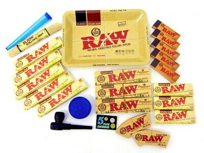 Raw Kit Organic King Size Slim Papers Connoisseur Roach Filter Cone Tips Grinder