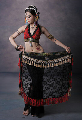 Tribal Belly Dance Costume 2 Pics Lace Blouse Bra&Hip Scarf Belt Skirt 2 Colors