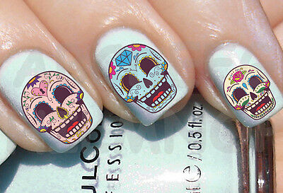 60 x Nail ART agua CRáNEO MEXICANO TRIS transferencia uñas STICKERS decal WATER