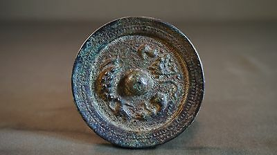 Very Fine Korean Joseon Dynasty Bronze Travel Size Hand Mirror