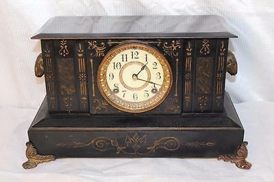 Antique Ansonia Iron 8 Day Mantle Clock ~ Rams Heads ~ Rustic