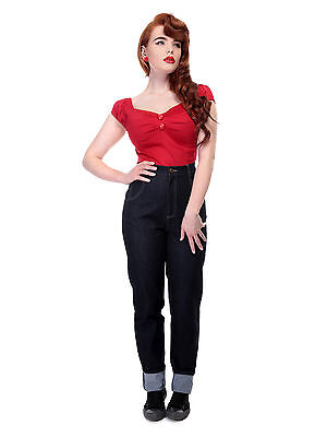Collectif Monroe High Waisted Straight 50s Rockabilly Jeans Vintage Blue VLV