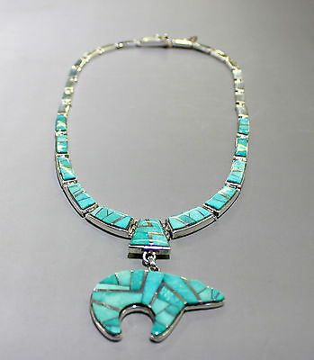 "Navajo Sterling Silver Inlay Sleeping Beauty Turquoise 18"" Necklace & Earrings"