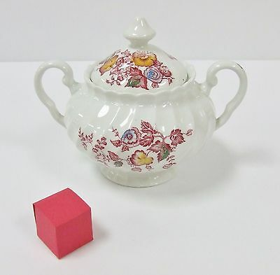Johnson Brothers Jolie Sugar Bowl With Lid White Pink Multicolor Swirl Pattern