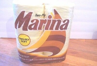 80's Vintage yellow Colored Toilet Paper Marina 2 Ply Tissue Pack Four Rolls