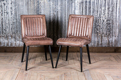 Clay Vintage Retro Style Leather Dining Kitchen Cafe Chairs The Epsom • £235.00