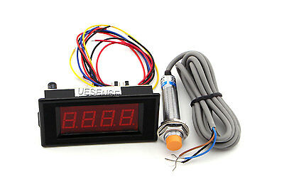 12V 4 Digital Red LED Counter Meter + Proximity Switch Sensor NPN