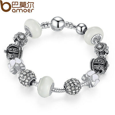 White Series DIY European 925 Silver Charms Bracelet With Crown AAA CZ For Women