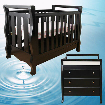 Walnut New Zealand Pine 3-in-1 Baby Sleigh Cot Bed & 3 Drawers Change Table Set