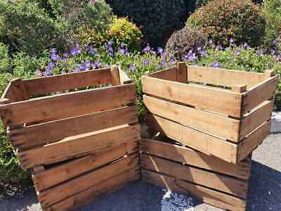 Graded Vintage Wooden Apple Fruit Crate Rustic Old Bushel Box Shabby Chic
