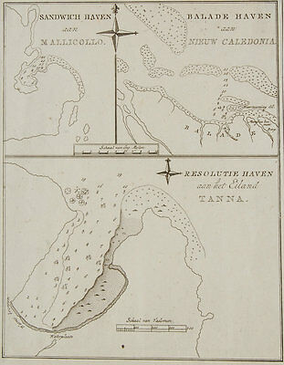1790 Original Cook Antique Map Of Tanna Vanuatu,New Caledonia,