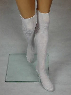 Womens Ladies Extra Long Thigh High Over the Knee White Socks