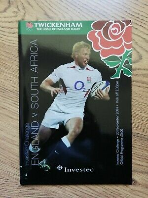 England v South Africa 2004 Rugby Programme
