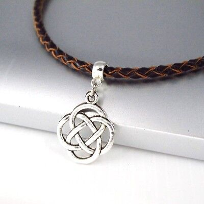Silver Gold Tree Of Life Pendant Womens 3mm Braided Cream White Leather Necklace