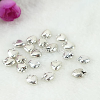 20x Antique Silver Tone Love Heart Shape DIY Charms Pendant for Jewelry Finding