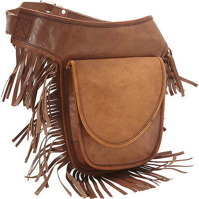 Sharo Leather Bags Leather Fringed Adjustable Hip Bag Waist Pack NEW