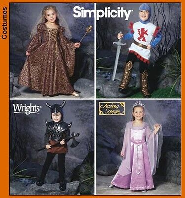 Simplicity Andrea Schewe Child Sewing Pattern 5520 Fantasy Costumes Queen Knight