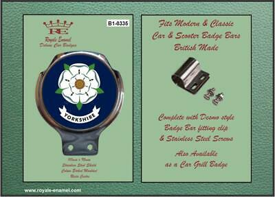 Royale Classic Car Badge & Bar Clip YORKSHIRE COUNTY BADGE WHITE ROSE B1.0335