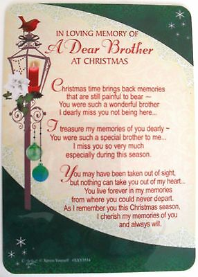In Loving Memory Of A Dear Brother Christmas Grave side Memorial Card