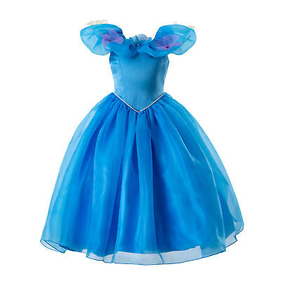 Girls Princess Cinderella Dress Butterfly Party Halloween Cosplay Costume 3-9Y