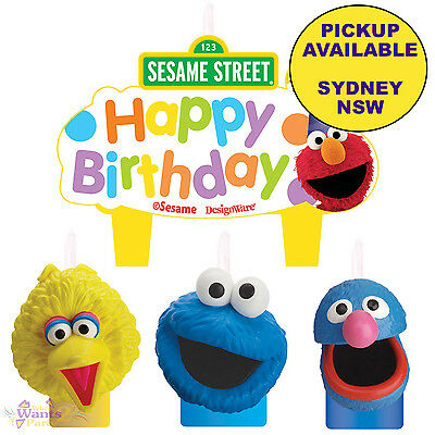 Sesame Street Party Supplies 4 Candles Set Elmo Big Bird Cookie Monster Birthday