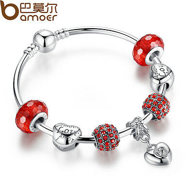 Fresh DIY European Silver Bracelets Bangle With Crystal LOVE Charm For Women